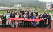 HKJC Stewards, top executives of the Chevalier International Holdings Limited and winning connections of Chevalier Cup winner All You Wish, smile for cameras at the trophy presentation ceremony.