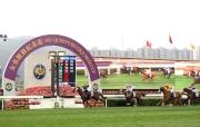 圖 1, 2, 3, 4<br>2014/15年度香港速度系列尾關女皇銀禧紀念盃,今日於沙田馬場舉行,由練馬師約翰摩亞訓練的5歲馬「步步友」(1號馬),於莫雷拉胯下率先衝過終點,勝出此場途程1400米的一級賽。「美麗之星」(6號馬)跑得亞軍。
