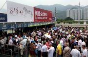 Racegoers join the National Day race meeting held at Sha Tin Racecourse.
