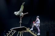聞名中外的四川省遂寧市雜技團表演高難度雜技《雙人技巧》。