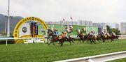 圖1, 2, 3: 由約翰摩亞訓練的香港賽駒「無敵飛龍」(6號馬),由祈普敦策騎勝出今日於沙田馬場舉行的港澳盃。